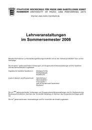 Lehrveranstaltungen im Sommersemester 2008 - Staatliche ...