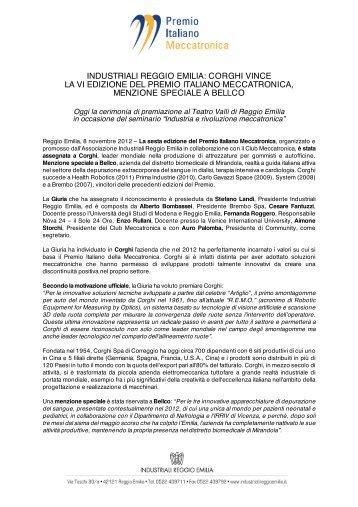 corghi vince la vi edizione del premio italiano ... - Corghi SpA