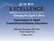 Concussion in Sport Coach/Parent/Athlete Education - USSA