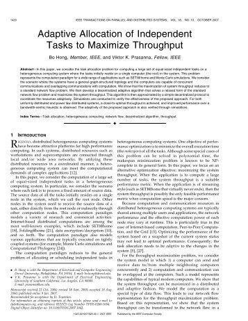 Adaptive Allocation of Independent Tasks to Maximize ... - IEEE Xplore
