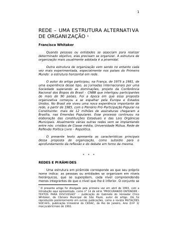 rede – uma estrutura alternativa de organização 1 - Projeto Apoema