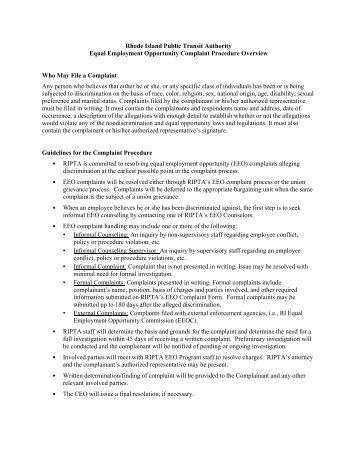 EEO Complaint Procedure and Form - ripta