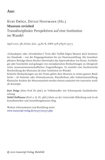 Kurt Dröge, Detlef Hoffmann (Hg.) Museum revisited - transcript Verlag