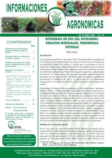 Eficiencia de uso del nitrógeno: desafíos mundiales, tendencias ...