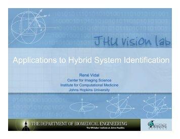 Applications to Hybrid System Identification - Johns Hopkins University