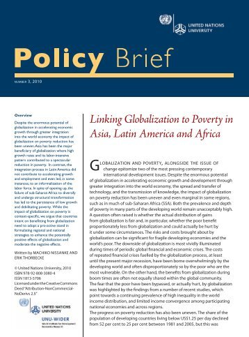 Linking Globalization to Poverty in Asia, Latin America and Africa
