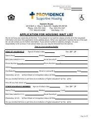 APPLICATION FOR HOUSING WAIT LIST - Providence Washington
