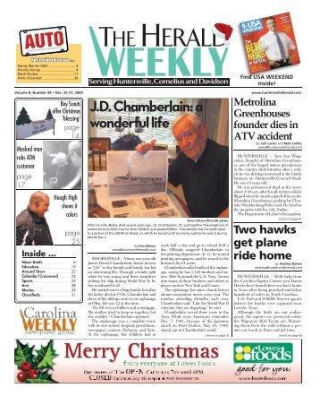 J.D. Chamberlain: a wonderful life - Carolina Weekly Newspapers