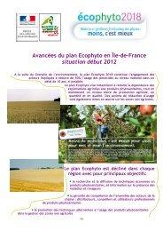 Avancées du plan Ecophyto en Île-de-France situation début 2012
