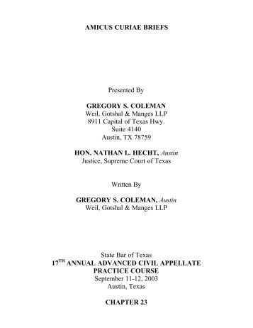 AMICUS CURIAE BRIEFS Presented By GREGORY S. COLEMAN ...