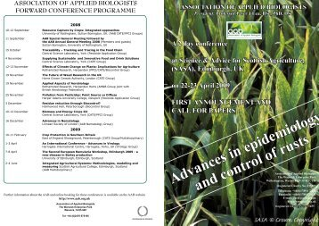 printable programme - Association of Applied Biologists