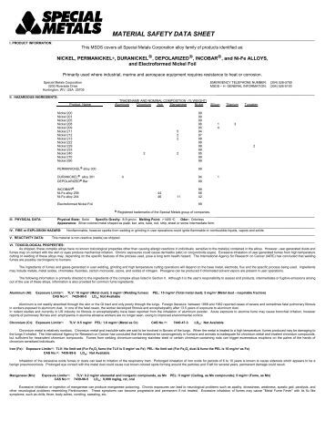 MATERIAL SAFETY DATA SHEET - Special Metals Corporation