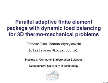 Parallel adaptive finite element package with dynamic load ...