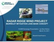 Radar Ridge Wind Project: Murrelet Mitigation Land-Bank Concept