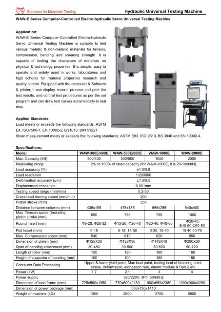 Hydraulic Universal Testing Machine - Jinan Testing Equipment IE