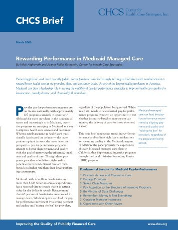 Rewarding Performance in Medicaid Managed Care Brief