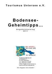 Geheimtipps Angebotskatalog 2011 - Tourismus Untersee e.V.