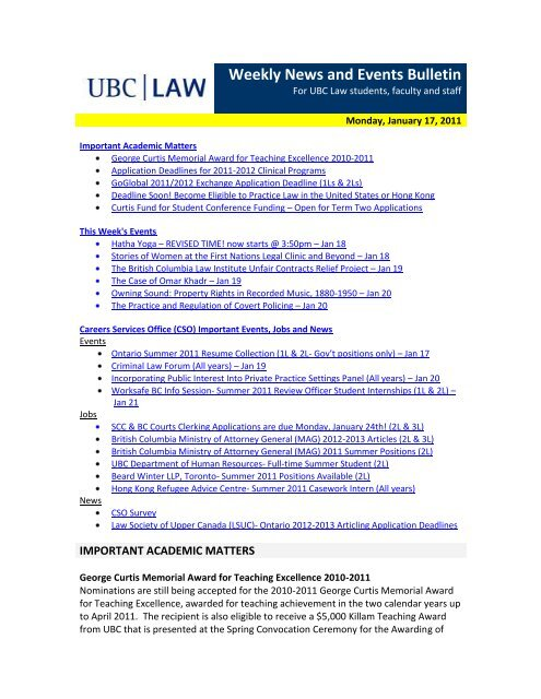 Weekly News and Events Bulletin - University of British