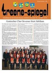 Gemischter Chor Oeversee feiert Jubiläum - Treenespiegel