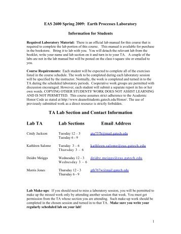 TA Lab Section and Contact Information Lab TA Lab Sections Email ...