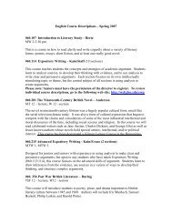 English Course Descriptions – Spring 2007 060.107 Introduction to ...