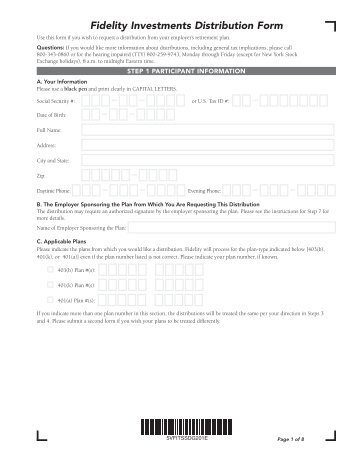 Withdrawal / Account Termination Form - Fidelity Investments