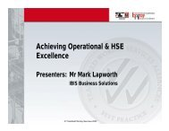 Achieving Operational & HSE Excellence - Transfield Worley