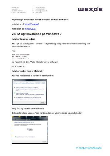 Windows XP driver og program installation til Mygear ... - Unisupport
