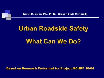 Urban Roadside Safety What Can We Do? - Center for ...
