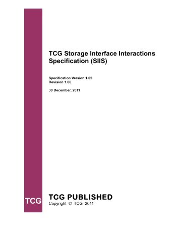 TCG Storage Interface Interactions Specification(SIIS)