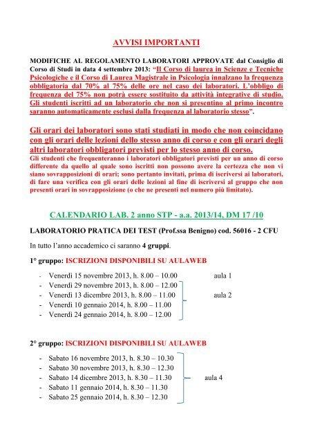 Calendario Anno 2014.Calendario Laboratori Obbligatori Laurea Triennale A A 2013 14
