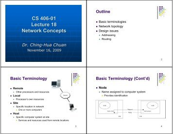 CS 406-01 Lecture 18 Network Concepts