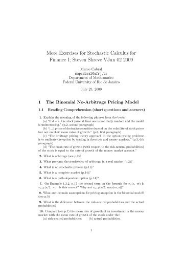 More Exercises for Stochastic Calculus for Finance I; Steven ... - UFRJ