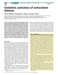 Oxidative activation of antioxidant defence - Université de Moncton