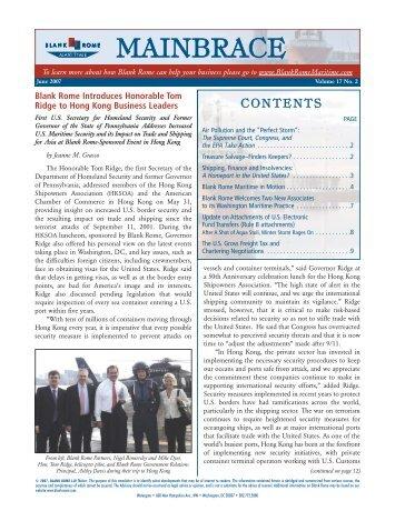 VER B (FINAL) - Mainbrace Newsletter (Maritime ... - Blank Rome LLP
