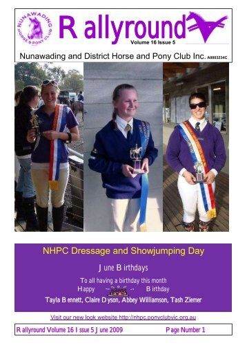 June 2009 - Nunawading and District Horse and Pony Club Inc.