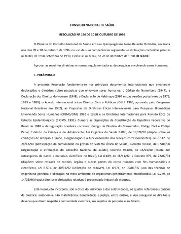 Resolução 196 - Cstr.ufcg.edu.br