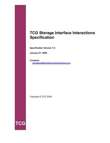 TCG Storage Interface Interactions Specification - Trusted ...