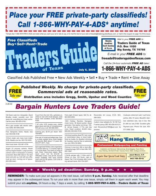 Place Your Free Private Party Classia A A Eds Traders Guide Of