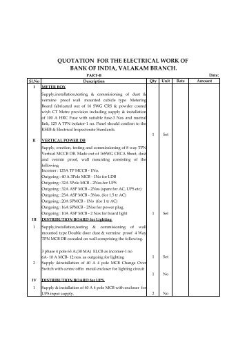 quotation for the electrical work of bank of india valakam branch.  sc 1 st  Yumpu : electrical wiring quotation - yogabreezes.com