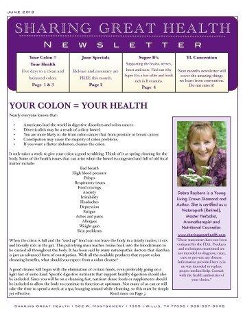 June 2013 - Sharing Great Health