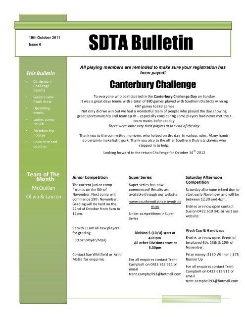 SDTA Bulletin - Southern Districts Tennis Association