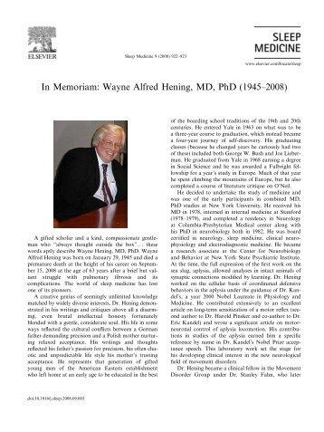 In Memoriam: Wayne Alfred Hening, MD, PhD (1945–2008)
