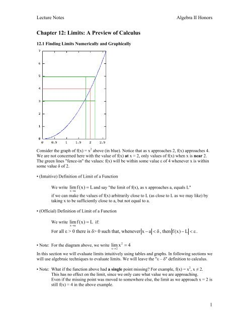 Chapter 12: Limits: A Preview of Calculus