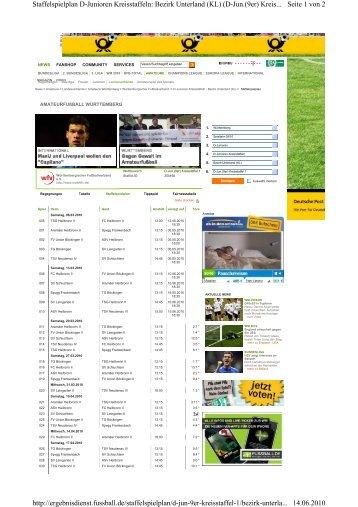 Seite 1 von 2 Staffelspielplan D-Junioren Kreisstaffeln: Bezirk ...