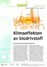 Klimaeffekten av biodrivstoff - Transport og miljø