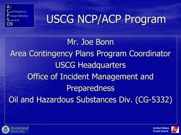 USCG NCP/ACP Program - U.S. National Response Team (NRT)
