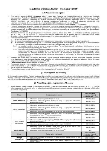 """Regulamin promocji """"SOHO – Promocja 1/2011"""" - Dialog"""