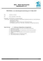 genehmigtes Protokoll der Jahreshauptversammlung vom 13.03.2010