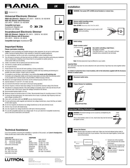 Lutron Rania Single Guide Mr Resistor